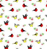 Wektorowy bezszwowy wzór z gilami, tites i rowanberries, Fotografia Royalty Free