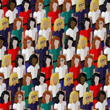 Wektorowy bezszwowy wzór z grupą well- sukni damy Płaska ilustracja biznesu lub polityka społeczność Zdjęcia Stock