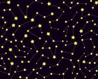 Wektorowy bezszwowy wzór z gwiazdami i gwiazdozbiorami ilustracja wektor