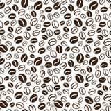 Wektorowy bezszwowy wzór z handrawn kawowymi fasolami Powtarzać co Obraz Stock
