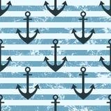Wektorowy bezszwowy wzór z ikonami kotwica Kreatywnie geometryczny błękitny prążkowany grunge tło ilustracji
