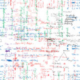 Wektorowy bezszwowy wzór z istną ręką pisać Łacińskim tekscie w kolorze na białym papierze Obraz Stock