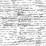 Wektorowy bezszwowy wzór z istnej ręki pisać tekstem na białym papierze Obraz Royalty Free