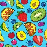 Wektorowy bezszwowy wzór z jagodami i owoc royalty ilustracja