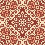 Wektorowy bezszwowy wzór z jaskrawym brown ornamentem Płytka w Wschodnim stylu Ornamentacyjny koronkowy maswerk ilustracja wektor