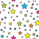 Wektorowy bezszwowy wzór z jaskrawymi kolorowymi kropkami i gwiazdami na czarnym tle Zdjęcie Royalty Free