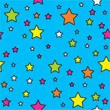 Wektorowy bezszwowy wzór z jaskrawymi kolorowymi kropkami i gwiazdami na czarnym tle Obraz Royalty Free