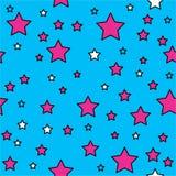 Wektorowy bezszwowy wzór z jaskrawymi kolorowymi kropkami i gwiazdami na czarnym tle Obrazy Stock
