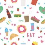 Wektorowy bezszwowy wzór z jedzeniem Fotografia Stock