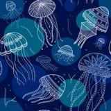Wektorowy bezszwowy wzór z jellyfishes w etnicznym boho stylu Fotografia Royalty Free