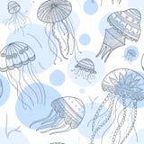 Wektorowy bezszwowy wzór z jellyfishes w etnicznym boho stylu Zdjęcie Stock