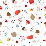 Wektorowy bezszwowy wzór z jesień kwiecistymi elementami ilustracji