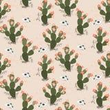 Wektorowy bezszwowy wzór z kaktusami i czaszkami w pustyni ilustracji