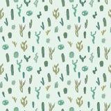 Wektorowy bezszwowy wzór z kaktusem Częstotliwa tekstura z zielonymi kaktusami Obraz Royalty Free