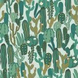 Wektorowy bezszwowy wzór z kaktusem Częstotliwa tekstura z zielonymi kaktusami Obraz Stock