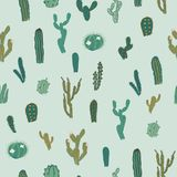 Wektorowy bezszwowy wzór z kaktusem Częstotliwa tekstura z zielonymi kaktusami Fotografia Royalty Free