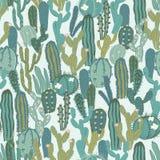Wektorowy bezszwowy wzór z kaktusem Częstotliwa tekstura z zielonymi kaktusami Zdjęcia Stock