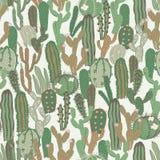 Wektorowy bezszwowy wzór z kaktusem Częstotliwa tekstura z zielonymi kaktusami Obrazy Royalty Free