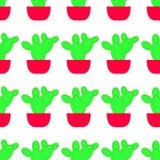 Wektorowy bezszwowy wzór z kaktusem Jaskrawa częstotliwa tekstura z zielonym kaktusem w kwiatu garnku royalty ilustracja