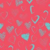 Wektorowy bezszwowy wzór z kaligraficznymi szczotkarskimi sercami Obraz Stock