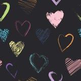 Wektorowy bezszwowy wzór z kaligraficznymi szczotkarskimi sercami Obrazy Stock