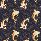 Wektorowy bezszwowy wzór z koi ryba i fala w japońskim stylu Zdjęcia Stock