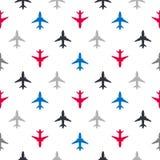 Wektorowy bezszwowy wzór z kolorów płaskimi samolotami Zdjęcie Royalty Free