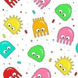 Wektorowy bezszwowy wzór z kolorowymi kreskówka potworami Obraz Stock
