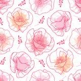 Wektorowy bezszwowy wzór z konturu czerwonym Makowym kwiatem i menchia pastelowi kleksy na białym tle Eleganci kwiecisty tło Fotografia Stock