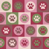 Wektorowy bezszwowy wzór z kota lub psa odciskami stopy Śliczny colorfu Fotografia Stock
