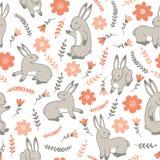 Wektorowy bezszwowy wzór z królikami royalty ilustracja