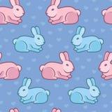 Wektorowy bezszwowy wzór z królikami i sercami ilustracji