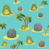 Wektorowy bezszwowy wzór z krokodyla aligatorem, hoppo hipopotamem i drzewkami palmowymi, ?liczny gruby posta? z kresk?wki przeci royalty ilustracja