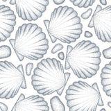 Wektorowy bezszwowy wzór z kropkowaną Denną skorupą, przegrzebek w czerni lub otoczaki na bielu Morski i nadwodny temat ilustracja wektor