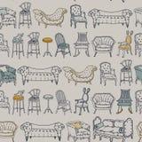 Wektorowy Bezszwowy wzór z krzesła Doodle Zdjęcie Royalty Free