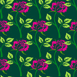 Wektorowy bezszwowy wzór z kwiatami i roślinami Obrazy Royalty Free