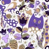 Wektorowy bezszwowy wzór z kwiatem, kotem i motylem, kreskówka d Zdjęcia Royalty Free