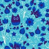 Wektorowy bezszwowy wzór z kwiatem, kotem i motylem, kreskówka d Obrazy Royalty Free