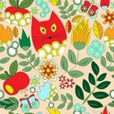 Wektorowy bezszwowy wzór z kwiatem, kotem i motylem, kreskówka d Zdjęcie Royalty Free