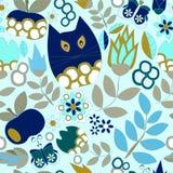 Wektorowy bezszwowy wzór z kwiatem, kotem i motylem, kreskówka d Obrazy Stock
