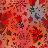 Wektorowy bezszwowy wzór z kwiatem, ptakiem i motylem, kreskówka Zdjęcia Royalty Free