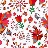 Wektorowy bezszwowy wzór z kwiatem, ptakiem i motylem, kreskówka Zdjęcie Stock
