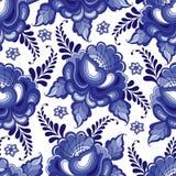 Wektorowy bezszwowy wzór z kwiecistym motywem w tradycyjnym rosjanina stylu Gzhel na białym tle Obrazy Stock