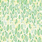 Wektorowy bezszwowy wzór z liśćmi, gałąź i kropkami, royalty ilustracja