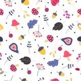 Wektorowy bezszwowy wzór z liśćmi, pieczarkami i jagodami, royalty ilustracja