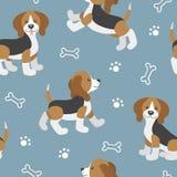 Wektorowy bezszwowy wzór z ślicznym kreskówki beagle dzieckiem Zdjęcia Stock