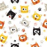 Wektorowy bezszwowy wzór z Ślicznymi kreskówka kotami bezszwowy wzoru Fotografia Stock