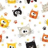 Wektorowy bezszwowy wzór z Ślicznymi kreskówka kotami bezszwowy wzoru Obraz Stock