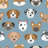 Wektorowy bezszwowy wzór z ślicznymi kreskówka psa szczeniakami Obrazy Royalty Free