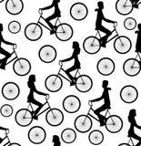 Wektorowy bezszwowy wzór z mężczyzna i kobietami jedzie bicykle ilustracji